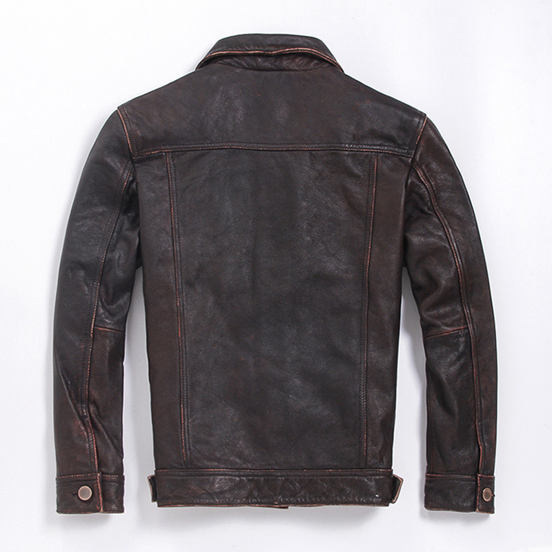 Genuine Cow Leather Jacket Men Vintage Real Cowhide Coat Plus Size Motorcycle Jackets Cazadora Cuero M-L-Z-11 KJ1310