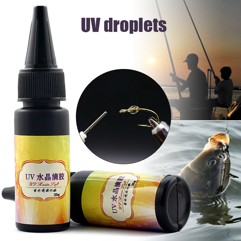 2bottles/Pack UV Glue Fly Fishing Thick/Flow Flies Binding Clear Finish Instant Dry Cure ALS88
