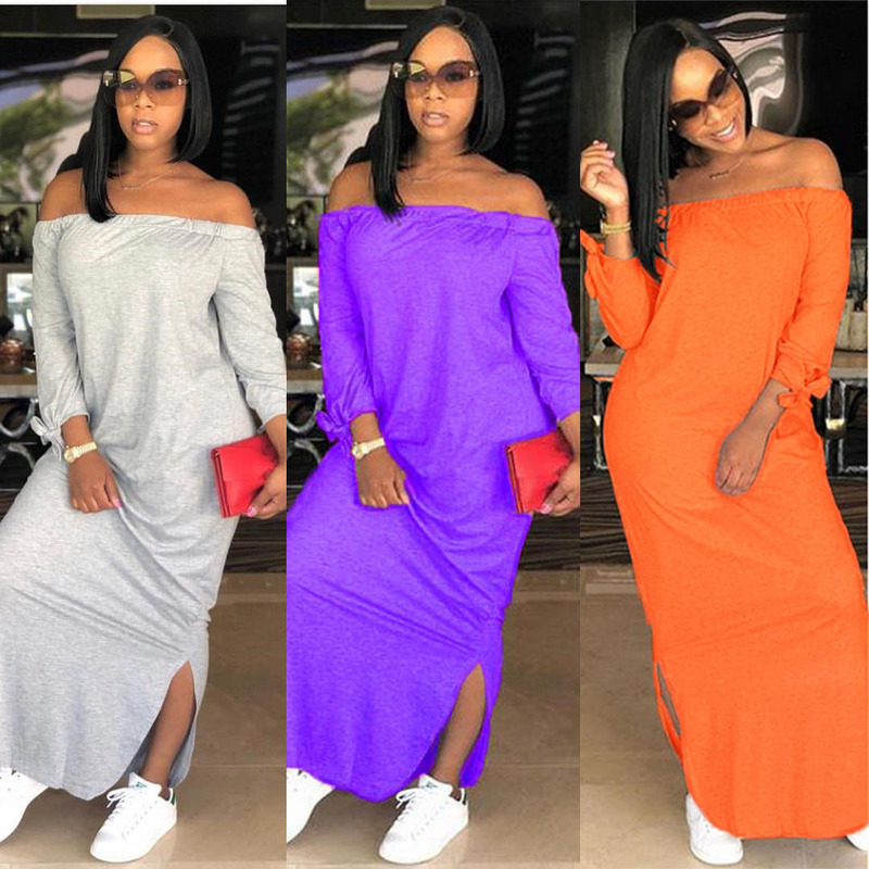 Fashion Ladies Summer Explosion Style Shoulder Solid Color Temperament Thin Casual Explosion Style Party Vacation Dress new