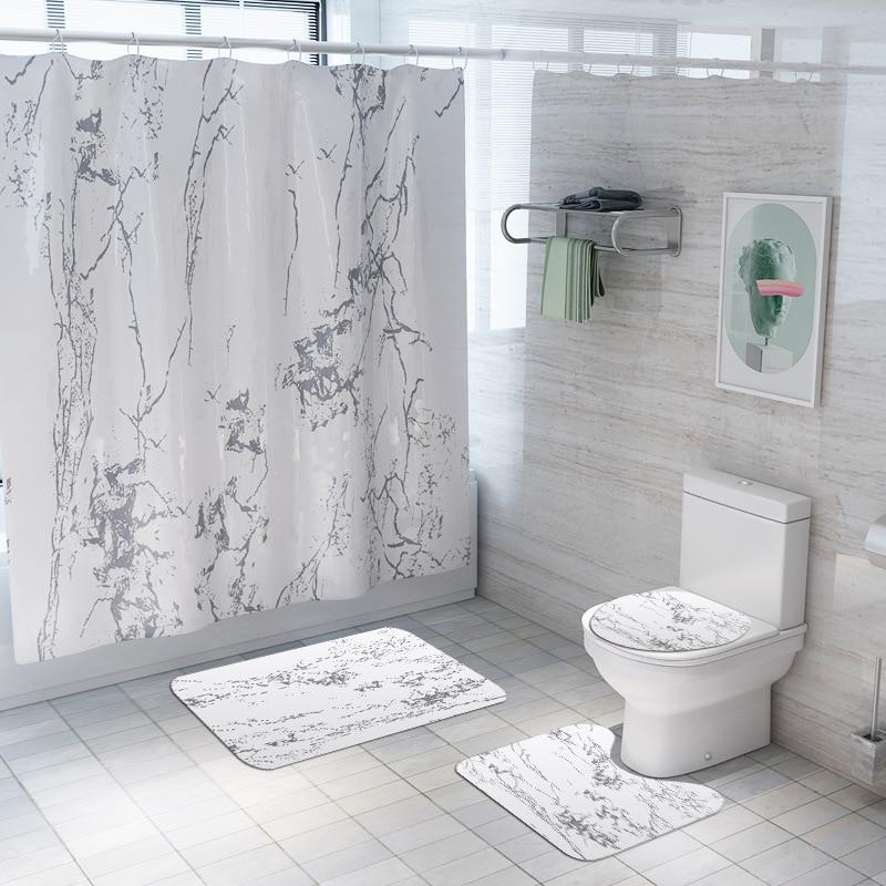 Занавеска для душа с мраморным принтом, 4 шт., покрытие для ковра, покрытие для унитаза, набор ковриков для ванной, занавеска для ванной комнаты с 12 крючками - Цвет: 4 sets