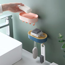 Suporte de sabão fixado na parede caixa porta sabão prato para produtos do banheiro bandeja portátil com ventosa sólido dreno placas água