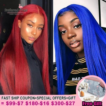 Preferred Red Blue Lace Front Wig Preplucked Brazilian Remy Transparent Lace Wigs Pink Ombre Human Hair Wigs For Black Women