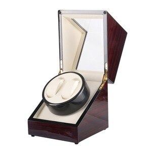 Image 5 - Drewniane pudełko na zegarki Winder Case zegarek samochodowy Winder Shaker przezroczysta osłona zegarek Box Motor US Plug