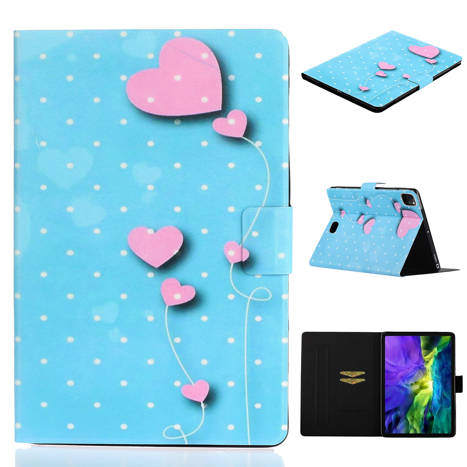3 Blue For iPad Pro 11 inch 2020 Case Cheap PU Leather Painted Smart Folio Case for iPad