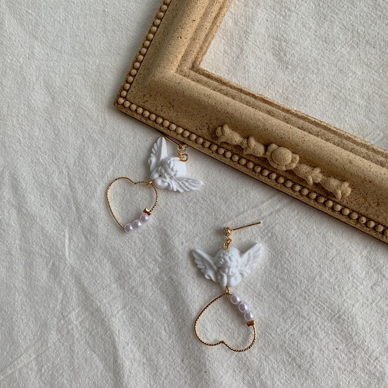 Kpop Creative Harajuku Cute Cupid Angel Pendant Drop Earring Heart With Pearl Aesthetic Chic Jewelry For Cool Women Egirl Gift