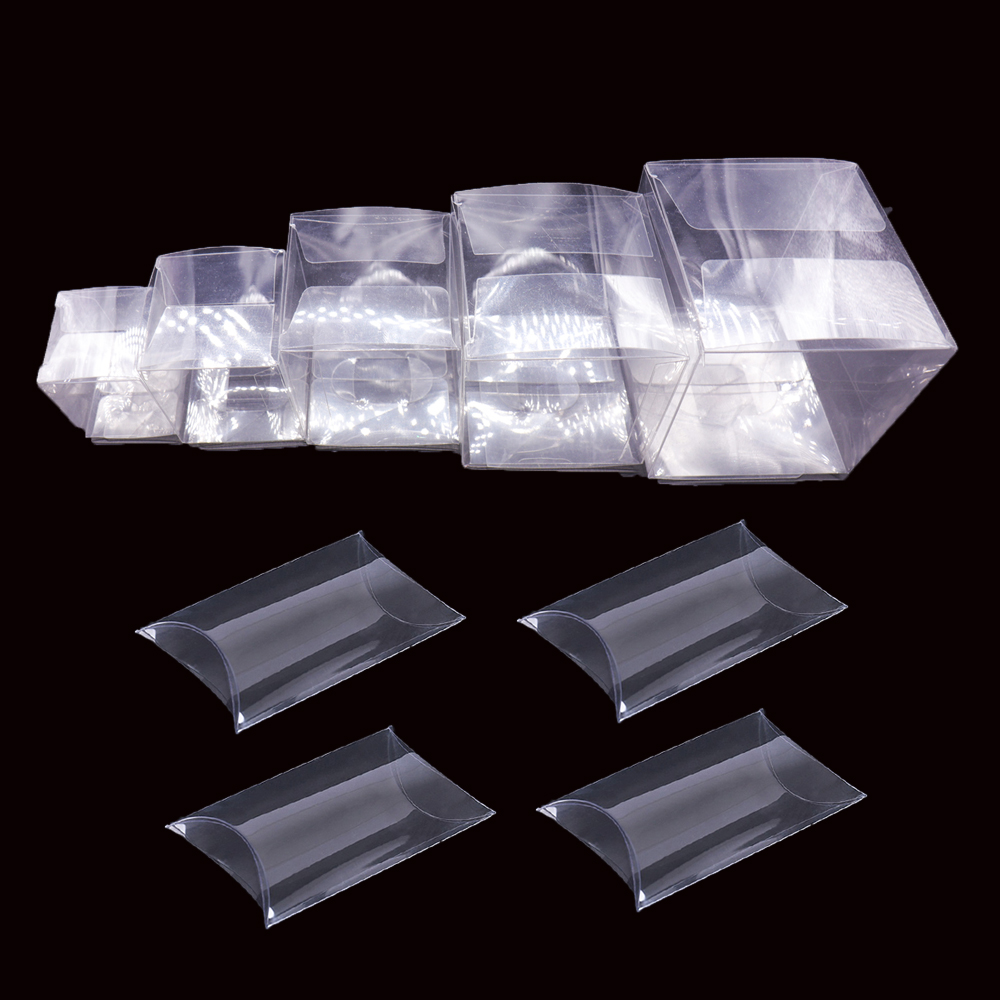 10pcs Transparent Clear PVC Candy Box Square Pillow Shape Chocolate Gift Box Wedding Favor Birthday Baby Shower Party Supply