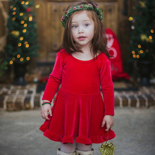Girls Christmas Dress Baby Spring and Autumn New Year Big Red Pleated Gold Bow Backless 2019