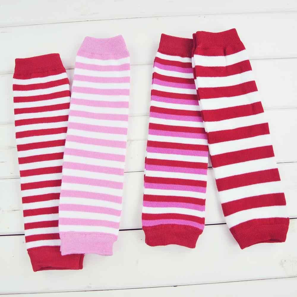 เด็กขาอุ่นสาวฝ้ายถุงเท้าเด็กสายรุ้งลายเข่า Pads ที่มีสีสันถัก Leggings ฤดูหนาวนุ่มถุงเท้า