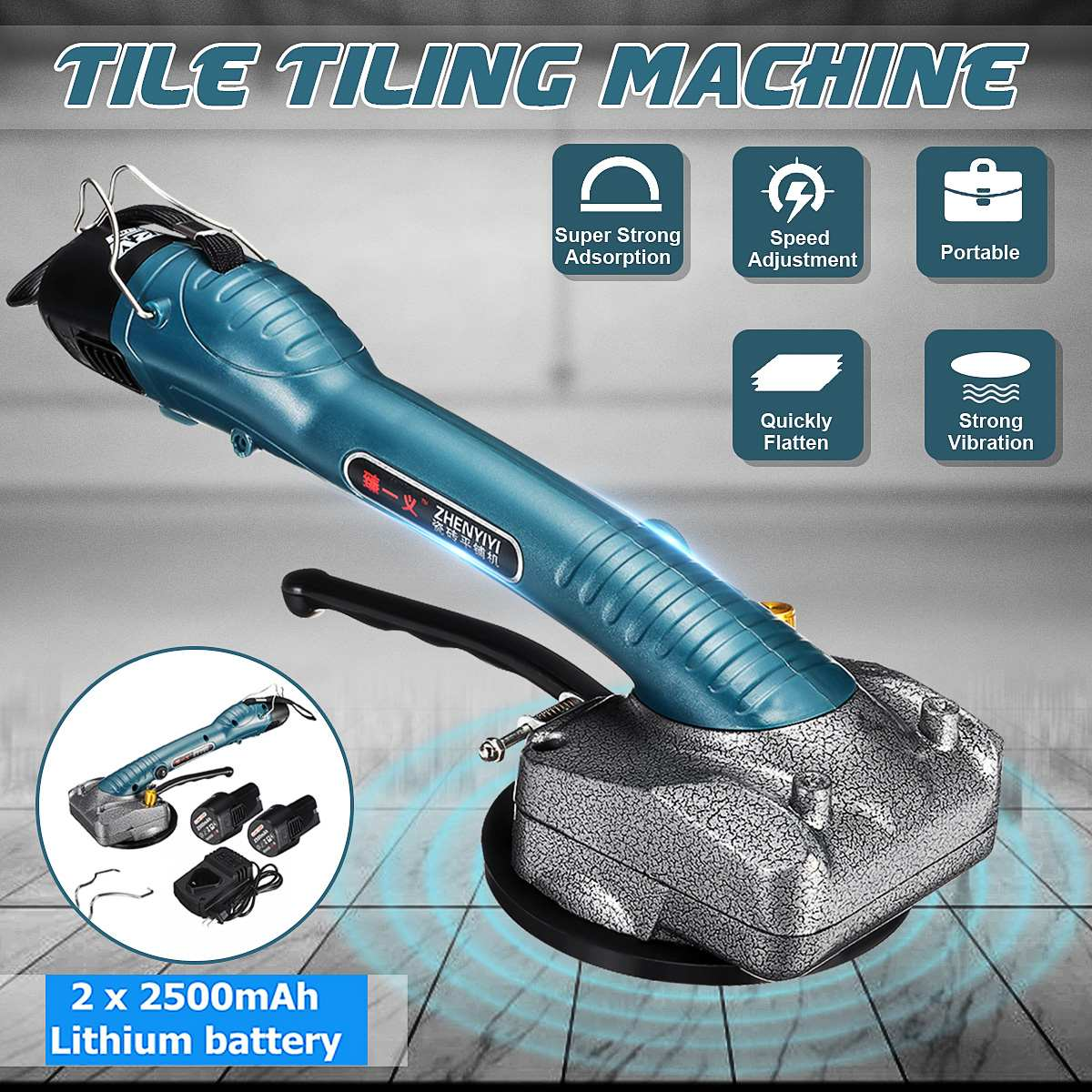 600W Tile Machine Vibrators High Power Tile Tiling Machine Electric Floor Tile Vibrator Tiling Tile Tool+2pcs 2500mAh Batteries