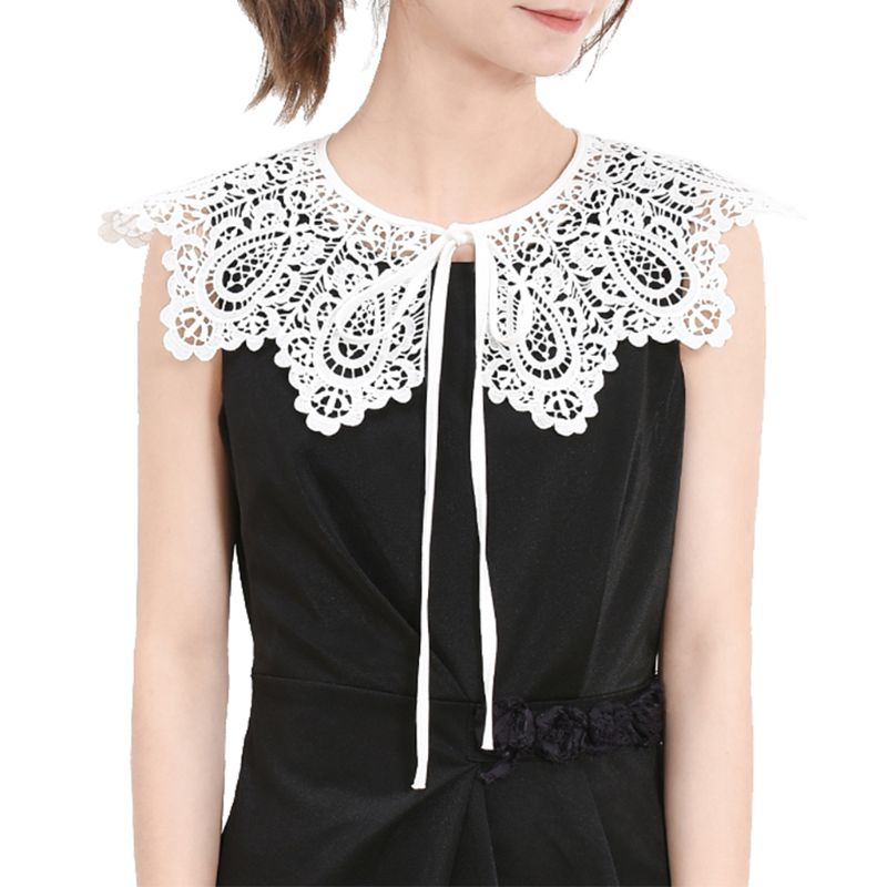 Palace Style Womens Doll False Collar Vintage Hollow Out Crochet Lace Half Shirt Necklace Shawl With Imitation Pearl Bowtie