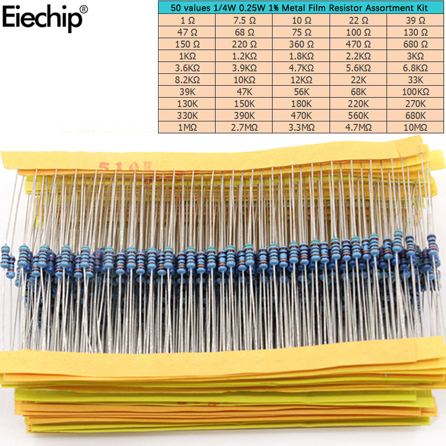 500pcs/lot 50 Values 1/4W 0.25W 1% Metal Film Resistor Assortment Kit Set 1R-10mR 1ohm-10Mohm Resistor Samples Kit