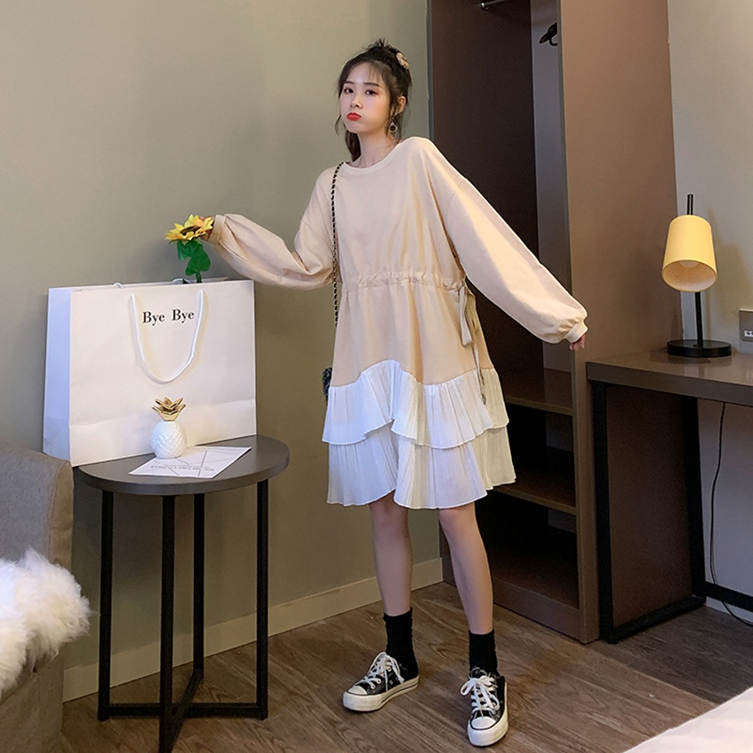 2019 autumn and winter new pregnant women pleated stitching sweater Korean fashion pregnancy dress