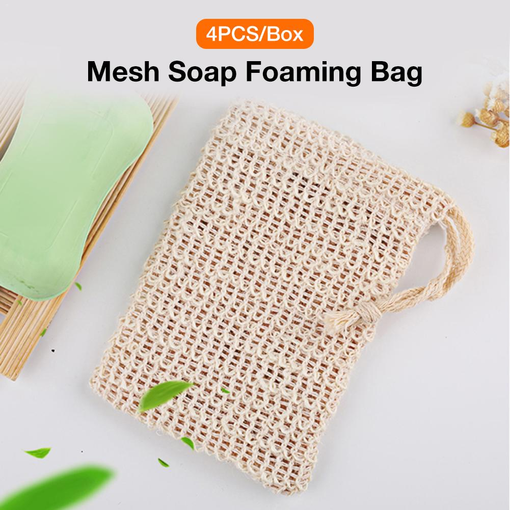 4PCS Soap Bag Natural Soap Pouches Handmade Soap Storage Bag For Lathering And Drying