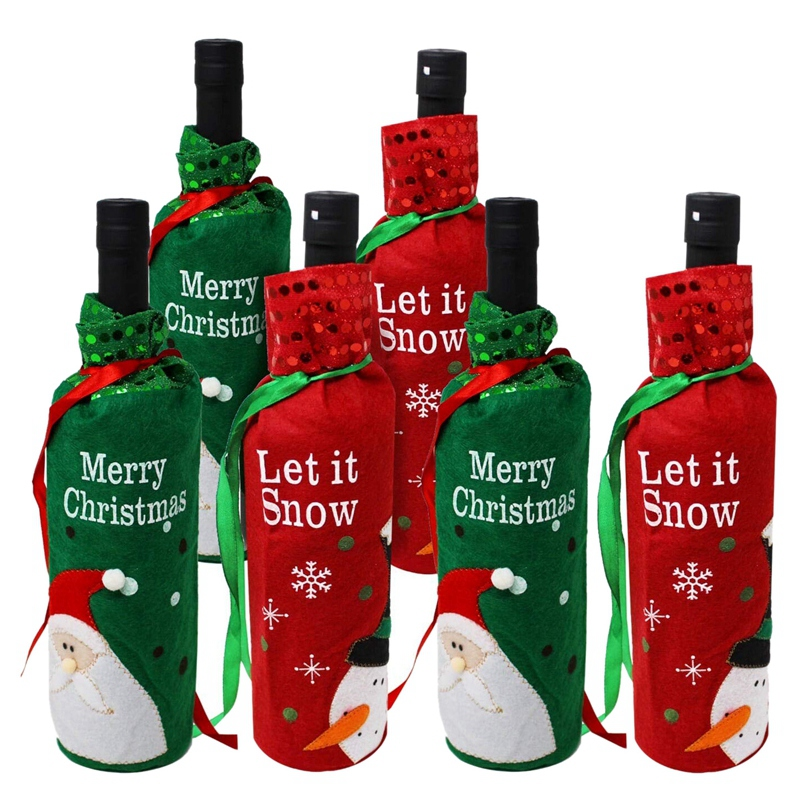 Set of 6 Wine Bottle Bags Perfect for Christmas Wine Gifts Perfect Xmas Party Decor|Wine Bottle Covers| |  - title=