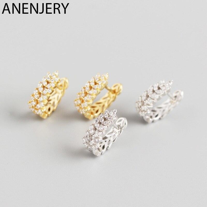 ANENJERY 925 en argent Sterling feuilles boucles d'oreilles pour les femmes français exquis élégant oreille bijoux S-E1377