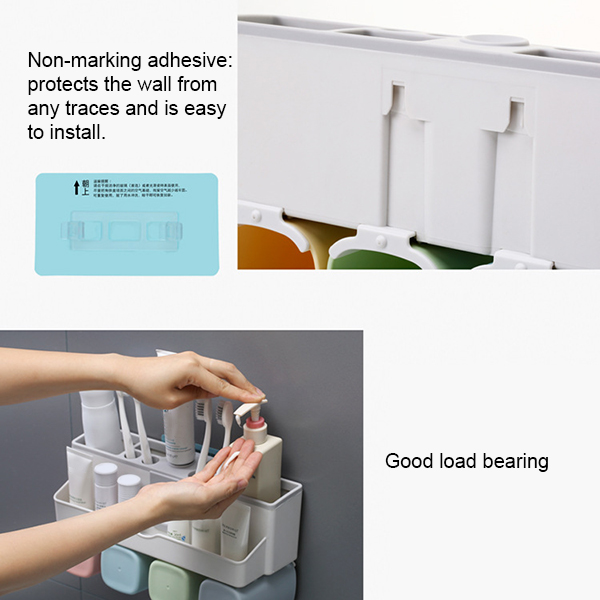 Large Capacity Toothbrush Holder Wall Mount Storage Rack with Automatic Toothpaste Dispenser FP8 image