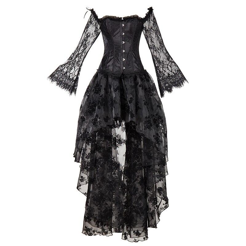 Haute qualité Steampunk Corset Sexy gothique Bustier irrégulière Style palais Top dentelle bretelles robe minceur Burlesque vêtements