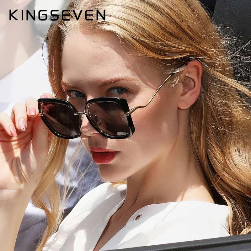 حقيقية KINGSEVEN المرأة نظارات ماركة فاخرة تصميم النظارات الشمسية التدرج عدسات قطبية نظارات شمسية فراشة Oculos Feminino