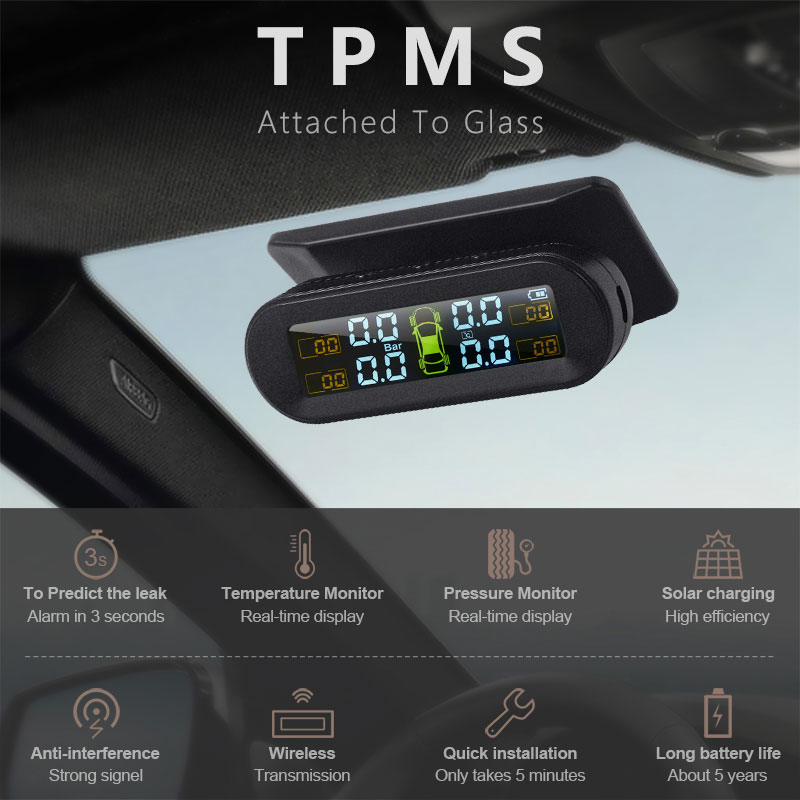 Monitor Windshield Tire-Pressure-Monitoring-System External-Sensor Car Tpms Solar Universal