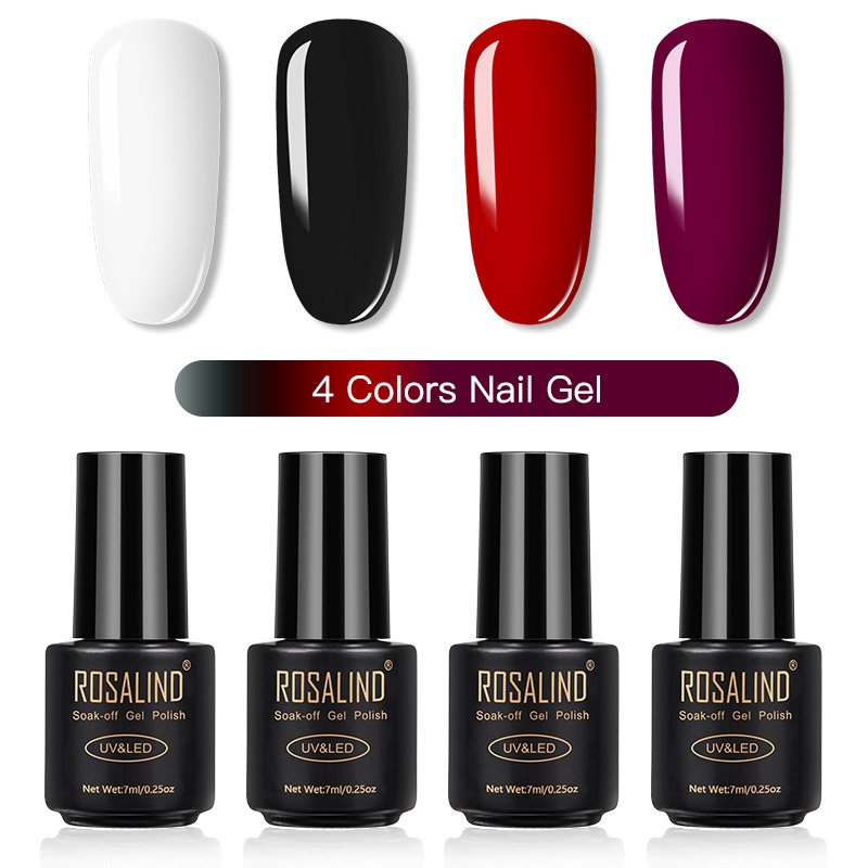 ROSALIND Gel Nail Polish Set Solid Color Nail Kit For Manicure Vernis Semi Permanent 7ML Gel Kit Top And Base All For Manicure 16