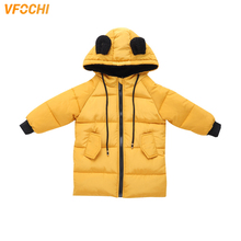 VFOCHI New Baby Girl Long Down Coats Kids Winter Jacket Parka Children Snowsuit 1-8Y Girls Thick Hooded Winter Outwear Down Coat недорого