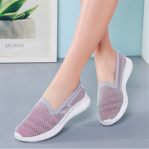 Image 2 - 2020 new spring and summer flying weaving leisure set of flat flat fashion mother shoes a pedal lazy womens shoes