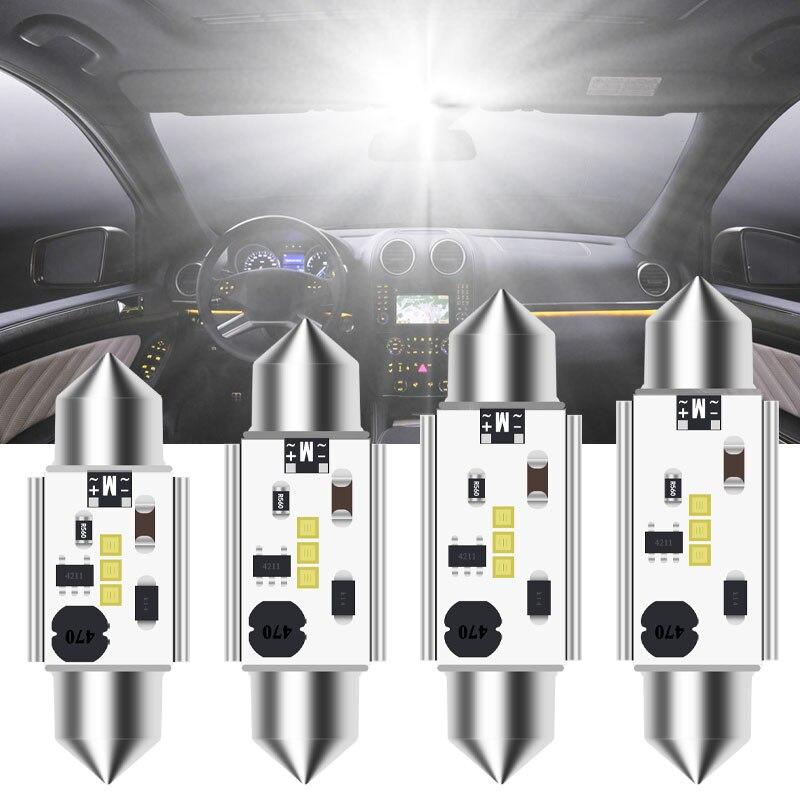 Canbus para carro, led canbus c5w festoon 12v-24v csp blub 31mm 36mm 39 peça lâmpada de teto interior do carro 41mm, luz branca para leitura da placa