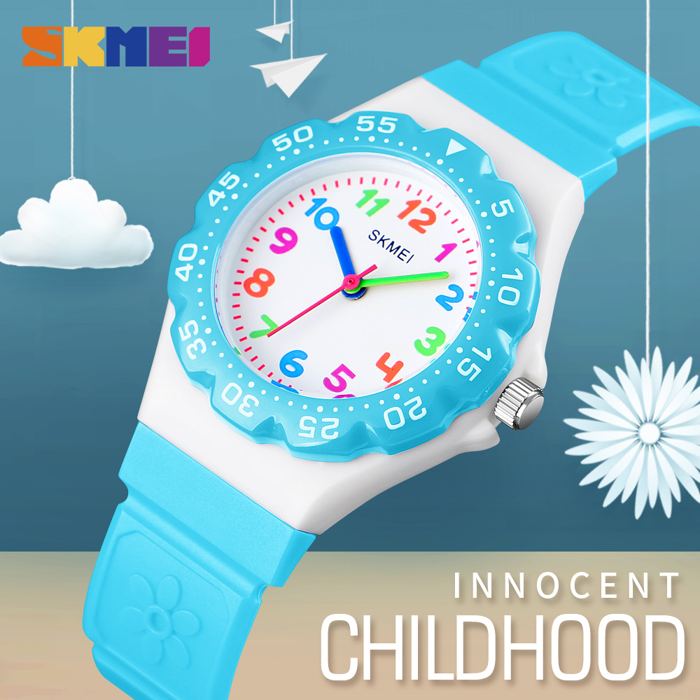 SKMEI Kids Girls Boys Sports Quartz Wristwatch Pu Band Waterproof Children Students Outdoor Sports Watch Wrist Watches 1483