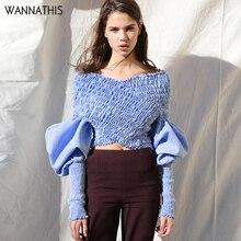 WannaThis azul cuello pico de hombro blusa mujer otoño Delgado Irregular Criss Cruz linterna manga elástica sólido elegante Crop Top