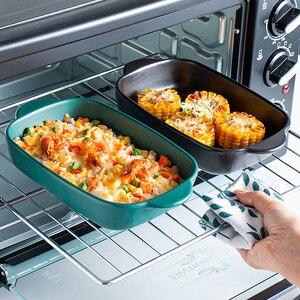 Керамическая прямоугольная бинауральная тарелка для сыра, тарелка для выпечки, микроволновая печь, Западная миска для еды, специальная печ...