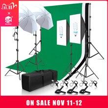 Foto Studio Verlichting Kit 2X3M Achtergrond Support System Met 3 Kleur Mousseline Achtergrond Fotografie Softbox Paraplu Statief stand