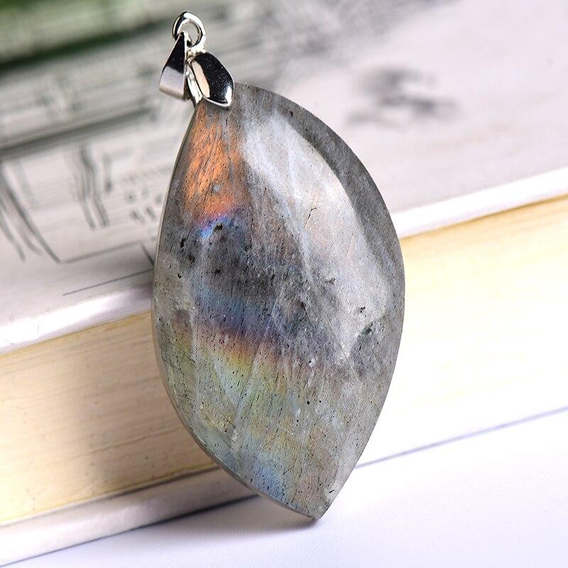 100% Natural Labradorite Original Stone Pendant Leaf Shape Polished Healing Energy Stone Increase charm Unisex Jewelry DIY Gift