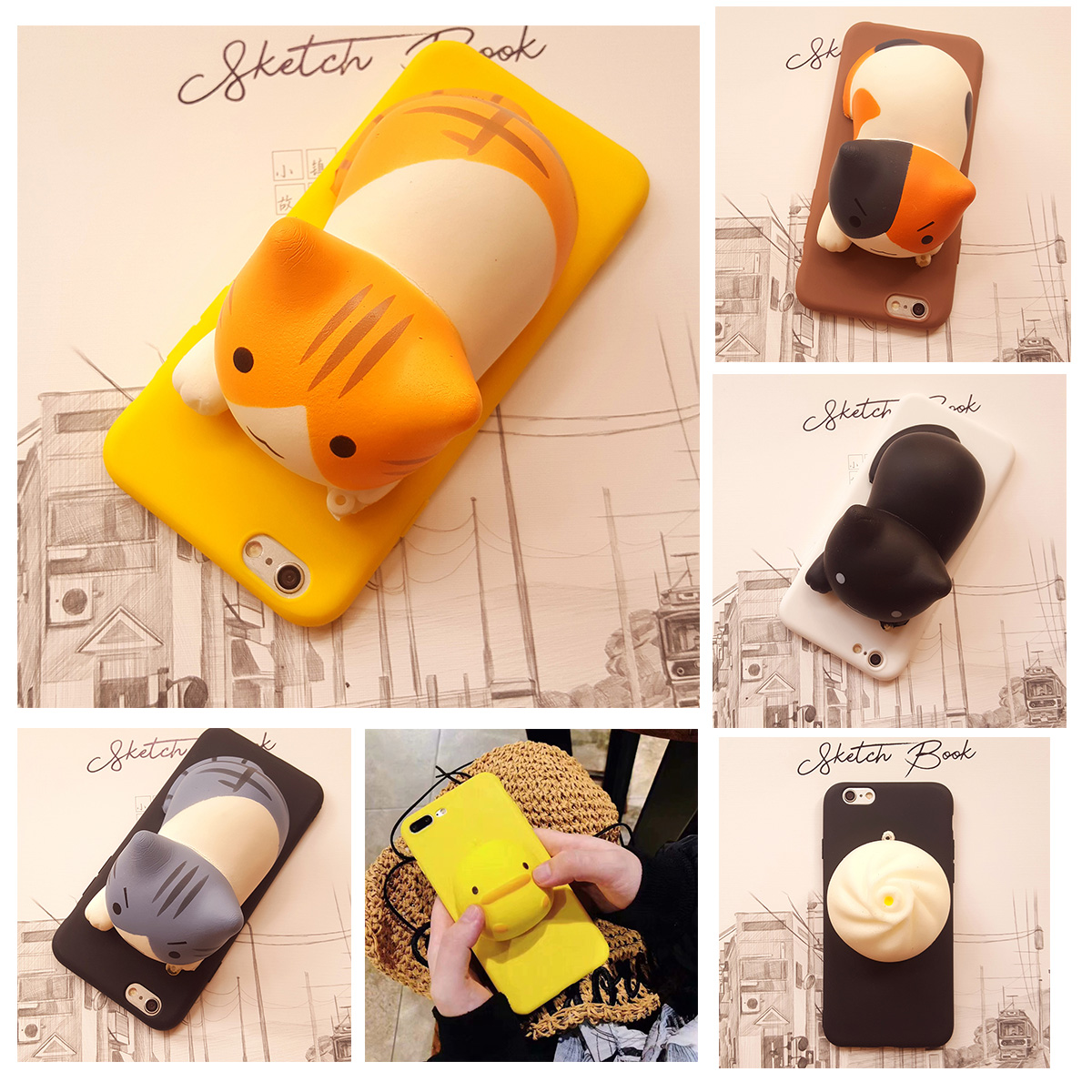 3D Cartoon Cat Holder Phone <font><b>Case</b></font> for <font><b>OPPO</b></font> A1K A3S A5S A7 A39 A57 A71 A77 A79 A8 A31 <font><b>A83</b></font> A91 A92S F1S Squeeze Stress Soft <font><b>Cover</b></font> image