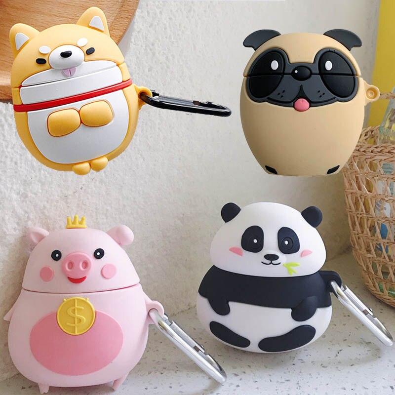 For Apple AirPods Pug Corgi Puppy Dog Case 3D Cute Cartoon Fat Crown Money Pig Panda Wireless Earphone Cover For Airpods 2 Shell