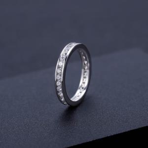 Image 3 - GEMS בלט 0.33Ct Luxe עתיק גלילה EF צבע Moissanite טבעת 925 סטרלינג כסף נישואים לתכשיטי נשים 2mm