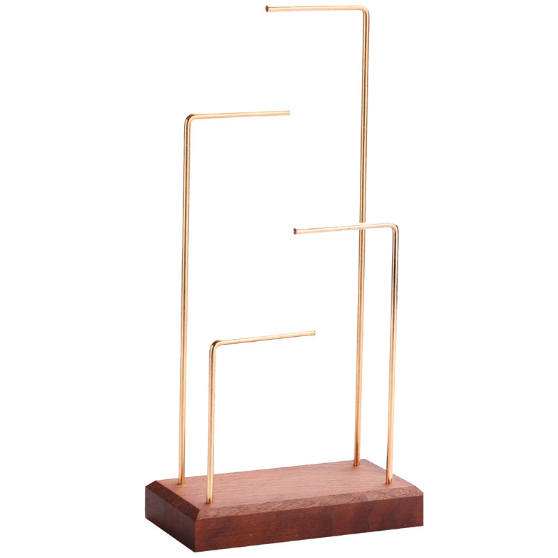 Ring Display Holder Pendant Earrings Display Stand Metal Stick Solid Wood Jewelry Display Stand