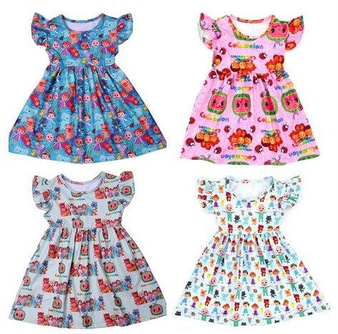 Newest Summer Toddler Girls Dresses Cocomelon Clothes Boutique Milk Silk Puff Sleeve Birthday Dress Design Kids Costume