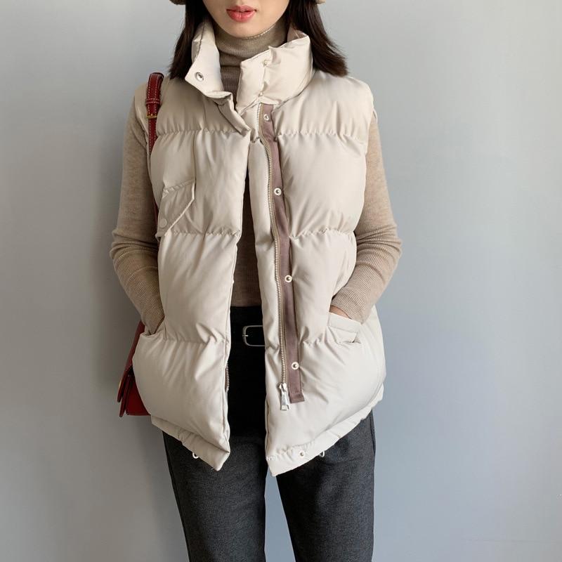 Women Winter Vest Waistcoat 2019 Autumn Vest Female Casual Warm Vests Cotton Women's Sleeveless Stand Neck Jacket Loose Coat
