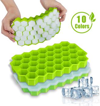 SILIKOLOVE Honeycomb tacki na kostki lodu wielokrotnego użytku silikonowa forma kostki lodu BPA wolna kostkarka do lodu z wymiennymi pokrywkami tanie i dobre opinie Urządzenia do lodów CN (pochodzenie) Ekologiczne Przybory do lodów SILICONE CE UE Lfgb 20*11*2 5 CM make ice cubes silicone molds for ice