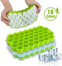 SILIKOLOVE Honeycomb tacki na kostki lodu wielokrotnego użytku silikonowa forma kostki lodu BPA wolna kostkarka do lodu z wymiennymi pokrywkami tanie tanio Urządzenia do lodów CN (pochodzenie) Ekologiczne Przybory do lodów SILICONE CE UE Lfgb 20*11*2 5 CM make ice cubes silicone molds for ice