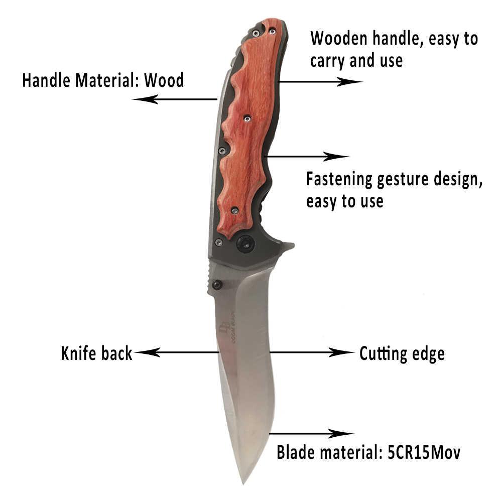 230 سنتيمتر (9 بوصة) 57HRC سكين للفرد ، حادة الفولاذ المقاوم للصدأ سكين ، خشبية مطعمة مقبض ، التخييم في الهواء الطلق بقاء سكين جيب