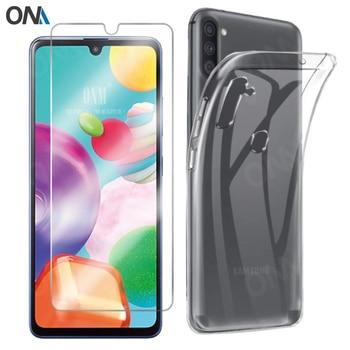 Перейти на Алиэкспресс и купить 2-в-1 закаленное стекло + чехол для Samsung Galaxy M01 M11 A01 A11 силиконовый чехол для Galaxy M01 M11 A01 A11 Защитная пленка для экрана