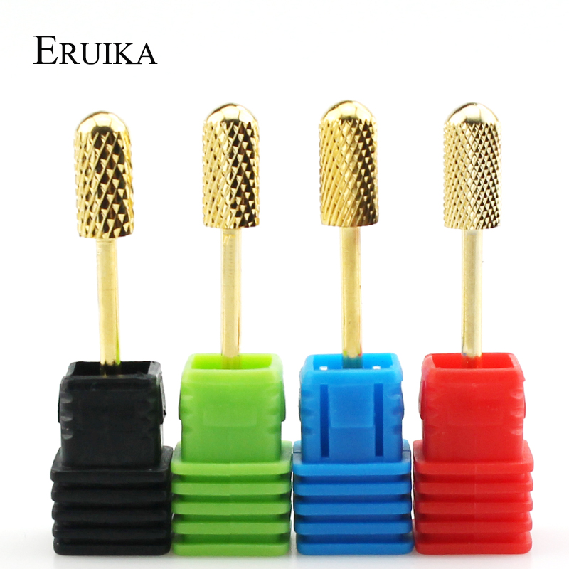 ERUIKA 1pc Round Top Carbide Nail Drills Electric Manicure Bit Machine Milling Cutter Rotary Gold Burr Nail Art Accessories