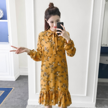 2020 Spring Vintage Women dress Bow Loose Print Slim Tail Dresses Green Yellow Black 1815 DG343(China)