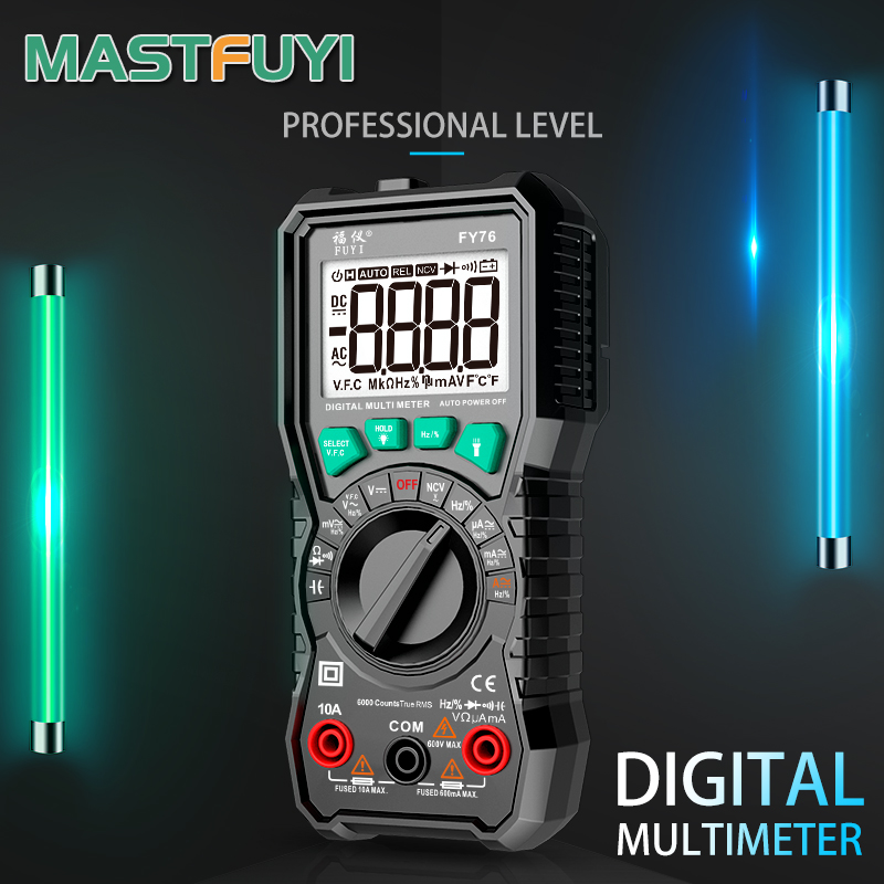 Mastfuyi FY76 Цифровой мультиметр 6000 отсчетов высокая скорость Авто Диапазон Тестер умный NCV истинная RMS температура AC/DC напряжение