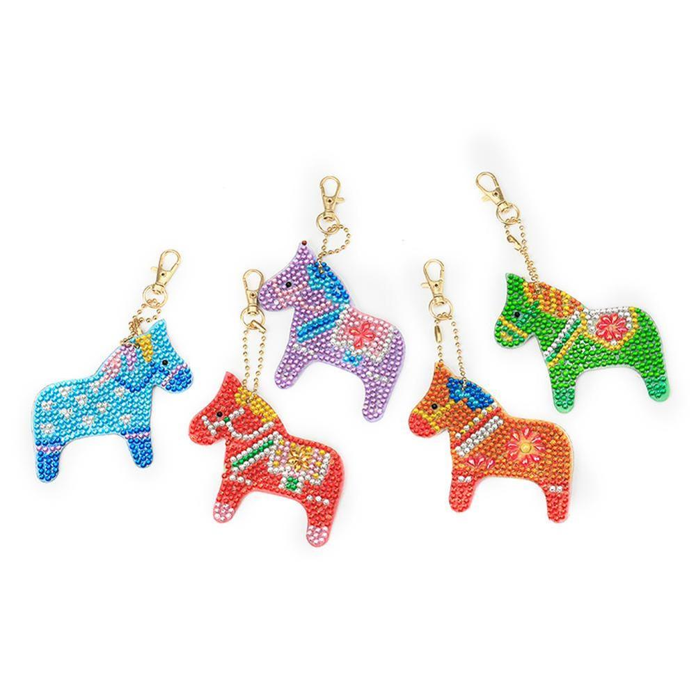 1x Horse Full Drill Keychain Diy Special Shaped Bag Pendant Keyring Shining Rhinestones Embroidery Cross Stitch Diamond Painting