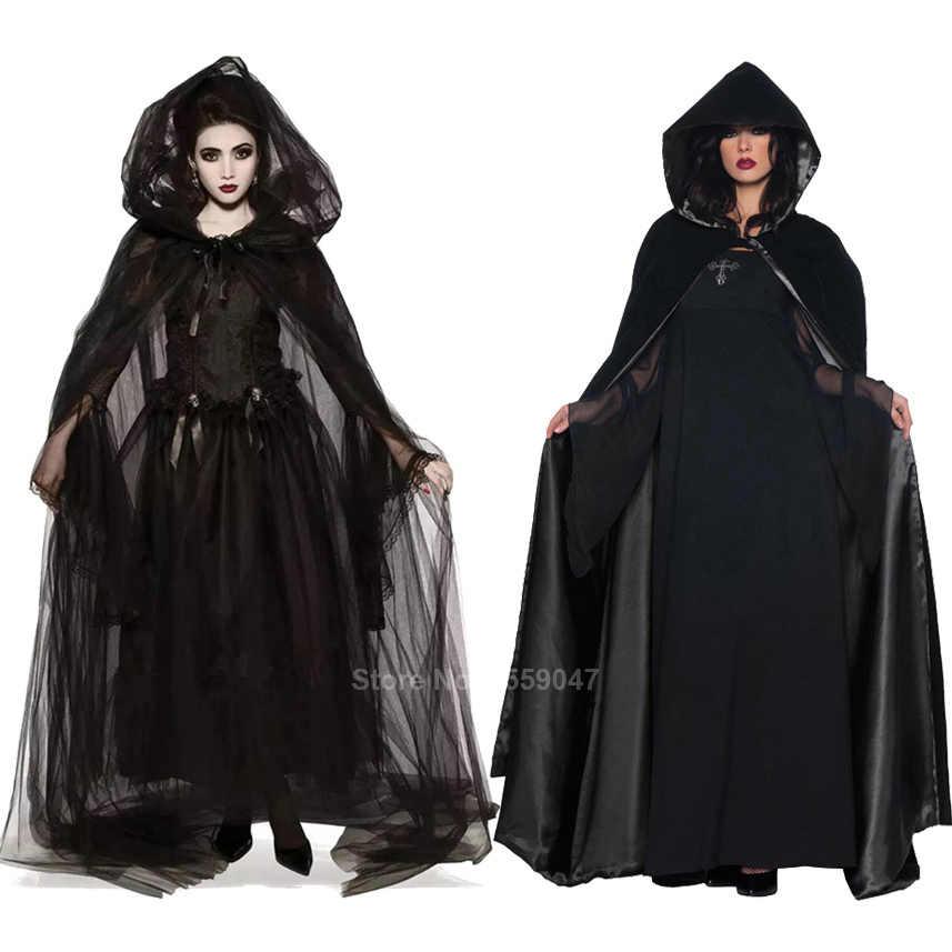 เครื่องแต่งกายฮาโลวีนที่น่ากลัวสำหรับผู้หญิง Ghost เจ้าสาวชุดเจ้าสาวสีดำชุดเสื้อคลุมชุดโกธิคยุคกลางชุดแวมไพร์ปีศาจสยองขวัญชุด