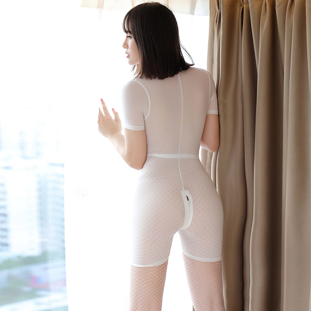 Ice Silk Smooth Shiny Playsuit Jumpsuits Shaping Dance Wear See through Sexy Women Zipper Open Crotch Bust High Cut Bodysuits 6