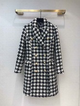 2019 Fall/winter womens plaid tweed coat Brand new high quality double-breasted Houndstooth  overcoat A952