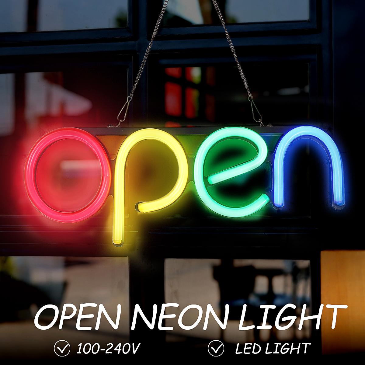 16'' Handmade Visual Artwork Bar Club KTV Wall Decoration Commercial Lighting Colorful Neon Bulbs OPEN Neon Sign LED Light Tube